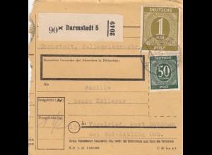 BiZone Paketkarte 1947: Darmstadt nach Vogelried, Post Schönau