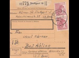 BiZone Paketkarte 1947: Stuttgart nach Bad Aibling, Kurhaus Schloss