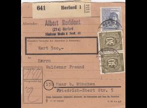 BiZone Paketkarte 1948: Herford nach Haar, Wertkarte