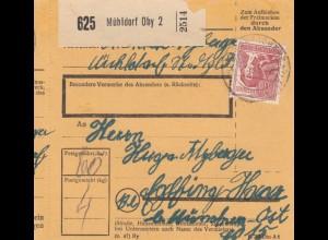 BiZone Paketkarte 1948: Mühldorf nach Eglfing, München-Ost