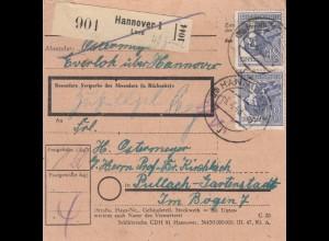 BiZone Paketkarte 1948: Everloh über Hannover nach Pullach-Gartenstadt