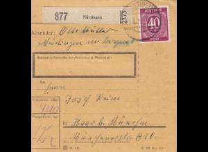 BiZone Paketkarte 1947: Nürtingen nach Haar bei München