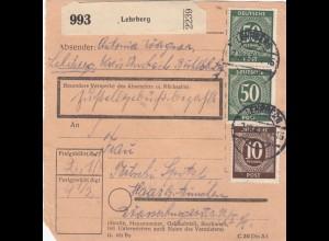 BiZone Paketkarte 1947: Lehrberg nach Haar