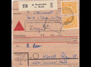 BiZone Paketkarte 1948: Neukirchen nach Hart über Mühldorf, Nachnahme, Leergut