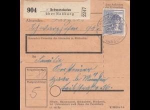 BiZone Paketkarte 1947: Schwarzhofen über Nabburg nach München