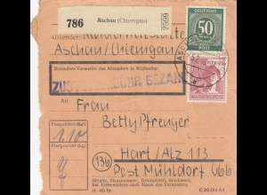 BiZone Paketkarte 1948: Aschau nach Hart / Alz, Mühldorf
