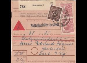 BiZone Paketkarte 1948: Rosenheim nach Hart, Nachnahme