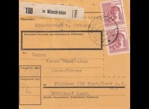 BiZone Paketkarte 1948: Mönchröden nach Plaiken, Post Hart