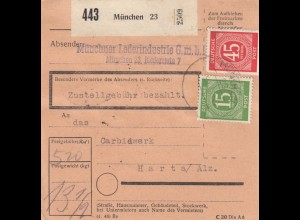 BiZone Paketkarte 1948: München, Lederindustrie nach Hart / Alz