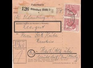 BiZone Paketkarte 1948: Oldenburg nach Hart über Mühldorf, Leergut