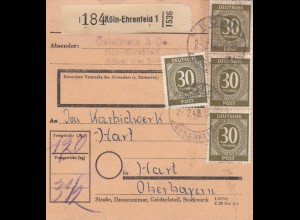 BiZone Paketkarte 1948: Köln-Ehrenfeld nach Hart, Oberbayern