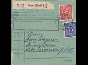 BiZone Paketkarte 1948: Hagen nach Teisendorf, Eisenwaren, besonderes Formular