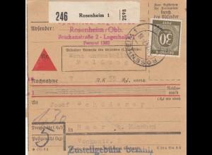 BiZone Paketkarte 1947: Rosenheim nach Haar, Nachnahme
