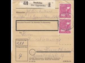 BiZone Paketkarte 1948: Neuhofen über Eggenfelden nach München