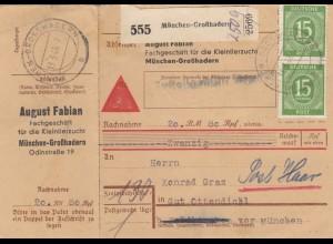 BiZone Paketkarte 1948: Kleintierzucht München nach Gut Ottendichl, Nachnahme