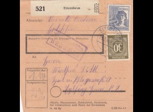 BiZone Paketkarte 1948: Eitensheim nach Eglfing, Heilanstalt