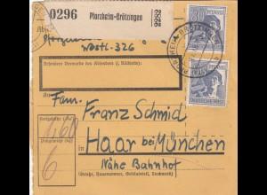 BiZone Paketkarte 1948: Pforzheim-Brötzingen nach Haar bei München