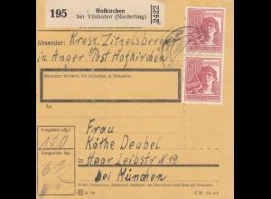 BiZone Paketkarte 1947: Hofkirchen bei Vilshofen nach Haar