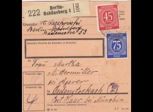 BiZone Paketkarte 1947: Berlin-Schöneberg nach Ödenstockach bei München
