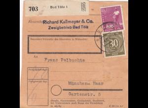 BiZone Paketkarte 1947: Bad Tölz nach München-Haar