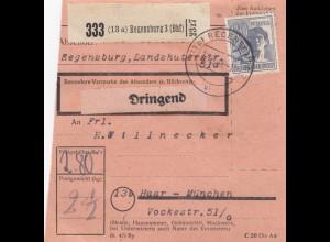 BiZone Paketkarte 1948: Regensburg 3 nach Haar-München, Dringend