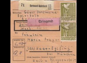 BiZone Paketkarte 1948: Dortmund-Aplerbeck nach Haar, dringend, Wertkarte