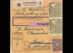 BiZone Paketkarte 1948: Hohenpolding über Moosburg nach Haar, dringend