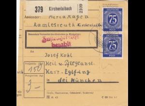 BiZone Paketkarte 1948: Kirchenlaibach nach Haar-Eglfing