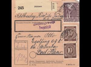 BiZone Paketkarte 1948: Pöttmes Schönesberg Ried nach Eglfing