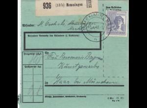 BiZone Paketkarte 1948: Memmingen nach Haar, Kunstgewerbe, bes. Formular