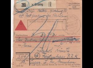 BiZone Paketkarte 1948: Girching nach Faistenhaar, Nachnahme