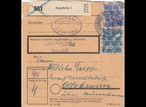 BiZone Paketkarte 1948: Augsburg 5 nach Ottobrunn über München