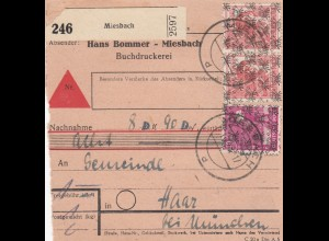 BiZone Paketkarte 1948: Miesbach nach Haar, Selbstbucher, Nachnahme