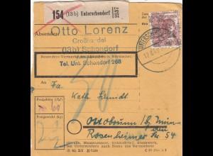 BiZone Paketkarte 1948: Unterschondorf, Großhandel, nach Ottobrunn
