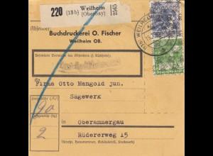 BiZone Paketkarte 1948: Weilheim nach Oberammergau, Selbstbucher, Sägewerk
