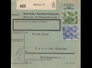 Paketkarte 1948: München, Kunstgewerbeverein / Haar, bes. Formular, Selbstbucher
