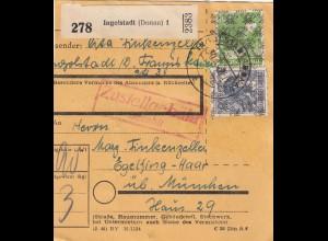BiZone Paketkarte 1948: Ingolstadt (Donau) nach Eglfing über München