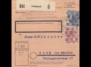 BiZone Paketkarte 1948: Feilnbach, Nordmann KG - Lederwaren -, nach Haar