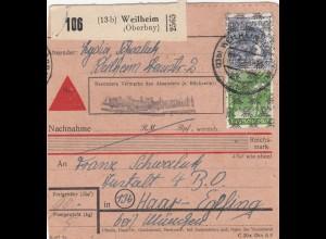 BiZone Paketkarte 1948: Weilheim /Oberbay.) nach Anstalt Haar, Nachnahme