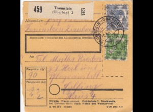 BiZone Paketkarte 1948: Traunstein nach Eglfing, Heilanstalt