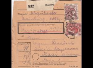 BiZone Paketkarte 1947: Mainburg nach Haar, Wertpaketkarte, Pflegeanstalt