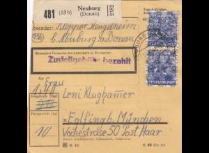 BiZone Paketkarte 1948: Neuburg a. Donau nach Eglfing