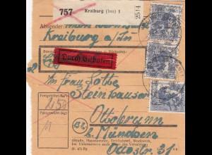 BiZone Paketkarte 1948: Kraiburg nach Ottobrunn durch Eilboten