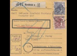 BiZone Paketkarte: Krefeld nach Ottobrunn, Wert 500 DM, Nachgebühr