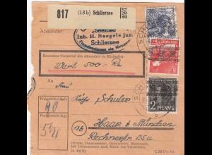 BiZone Paketkarte 1948: Schliersee nach Haar, Wertkarte 500 RM