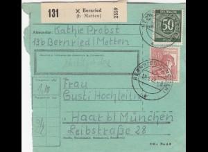BiZone Paketkarte 1948: Bernried nach Haar b. München, besonderes Formular