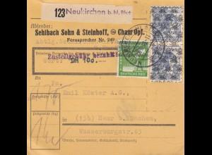 BiZone Paketkarte 1948 Neukirchen, Wertkarte, Selbstbucher, Sehlbach + Steinhoff