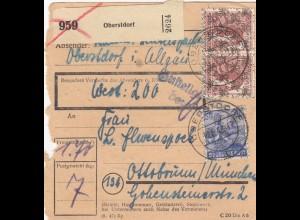 BiZone Paketkarte 1948: Oberstdorf nach Ottobrunn, Wertkarte