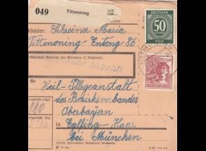BiZone Paketkarte 1948: Tittmoning nach Eglfing, Heilanstalt