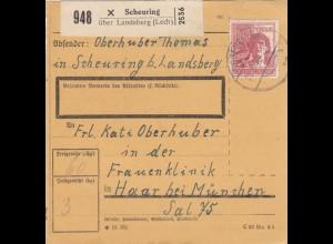 BiZone Paketkarte 1948: Scheuring über Landsberg nach Haar, Frauenklinik
